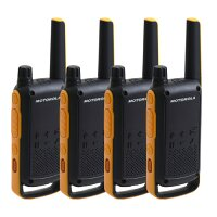 Motorola Talkabout T82 Extreme 2 Way Radios - Range of up to 10km, 16 Channels, 121 Privacy Codes, 4 x Headset Included - Quad Pack, Licence Free Radios - Colour: Black B8P00810YDEMAQ