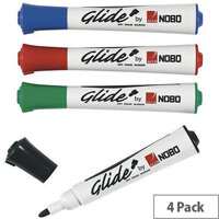 Nobo Glide Dry Wipe Marker Assorted Pack of 4 1902096