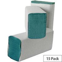 Leonardo M Fold 1 Ply Green Paper Hand Towels 200 Towels Per Sleeve 15 Sleeves (3000 Sheets) HMG130