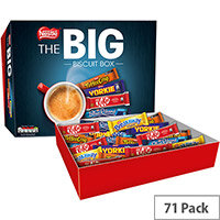 Nestle Big Chocolate Biscuits Individually Wrapped Biscuits Assorted Box. Includes: Breakaway, Kit Kat, Toffee Crisp, Yorkie, Blue Riband. Ideal For Use In Canteens, Offices, Receptions & More. Pack Of 71