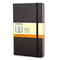 Black Moleskine Hard Cover Notebook – 240 Pages, A5, Compact, Portable, Rounded Corners, Acid-Free, Elastic Enclosure Band, Lined Paper, 130 x 210mm, Matt Finish & Hardcover (QP060)