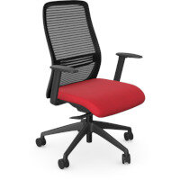 NV Posture Office Chair with Contoured Mesh Back and Adjustable Lumbar Support Black Frame Red Seat