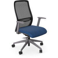 NV Posture Office Chair with Contoured Mesh Back and Adjustable Lumbar Support Grey Frame Navy Blue Seat
