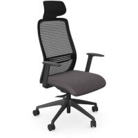 NV Posture Office Chair with Contoured Mesh Back and Adjustable Lumbar Support & Headrest Black Frame Grey Seat