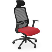 NV Posture Office Chair with Contoured Mesh Back and Adjustable Lumbar Support & Headrest Black Frame Red Seat