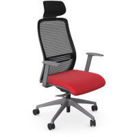 NV Posture Office Chair with Contoured Mesh Back and Adjustable Lumbar Support & Headrest Grey Frame Red Seat