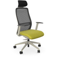 NV Posture Office Chair with Contoured Mesh Back and Adjustable Lumbar Support & Headrest White Frame Green Seat