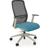 NV Posture Office Chair with Contoured Mesh Back and Adjustable Lumbar Support White Frame Light Blue Seat