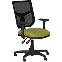 OA Series Mesh Back Office Chair with Adjustable Black Mesh Back Adjustable Arms & Light Green Evert Fabric Seat