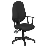 O.B Series Office Chair Fabric Seat Black Base & Fixed Arms Black