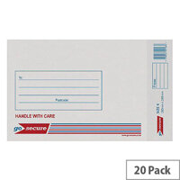 GoSecure Bubble Lined Envelope Size 4 180x265mm White Pack of 20 PB02128
