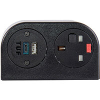 Phase Multi-surface Power Module 1 x UK Socket, 1 x TUF (A&C connectors) USB Charger - Black
