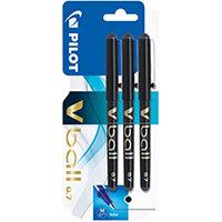 Pilot V Ball Rollerball Pens Black Pack of 3 3131910218579