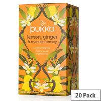 Pukka Lemon Ginger and Manuka Organic Tea Bags (Pack of 20) P5049