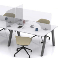 Screen Three - Self Supporting Rectangular Protective Perspex Desk Screen with Aperture & Radius Corners W985xH600xD150mm