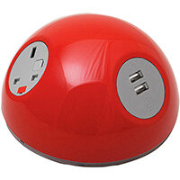 Pluto Domed On-surface Power Module with 1 x UK Socket, 1 x TUF (A&C connectors) USB Charger - White