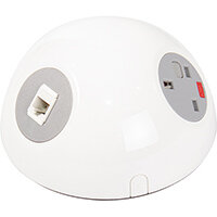 Pluto Domed On-surface Power Module with 1 x UK Socket, 1 x TUF (A&C connectors) USB Charger, 2 x RJ45 Sockets - White