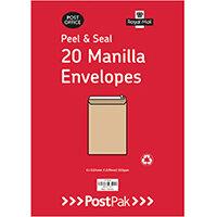 Envelopes C5 Peel & Seal Manilla 115Gsm Pack of 20 POF27424