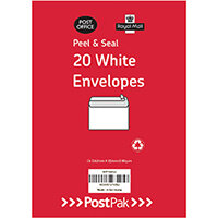 Envelopes C6 Peel & Seal White 80Gsm Pack of 20 POF27425