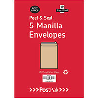 Envelopes C4 Peel & Seal Manilla 115Gsm Pack of 5 POF27428