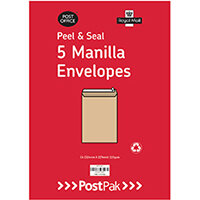 Envelopes C5 Peel & Seal Manilla 115Gsm Pack of 5 POF27430