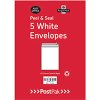 Envelopes C5 Peel & Seal White 90Gsm Pack of 5 POF27431
