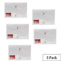 Concord Polypropylene Stud Wallet Foolscap Clear Pack of 5