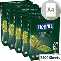 Report A4 80gsm White Premium Copier Paper 2500 Sheets