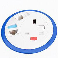 Pixel In-surface Power Module with 1 x UK Socket, 2 x RJ45 Sockets - Dark Blue
