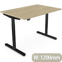 RoundE Height Adjustable Rectangular Home Office Sit Stand Desk Portal Top W1200xD700xH650-1150mm Urban Oak Top Black Frame