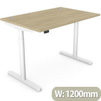 RoundE Height Adjustable Rectangular Home Office Sit Stand Desk Portal Top W1200xD700xH650-1150mm Urban Oak Top White Frame