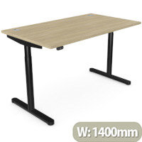 RoundE Height Adjustable Rectangular Home Office Sit Stand Desk Portal Top W1400xD700xH650-1150mm Urban Oak Top Black Frame