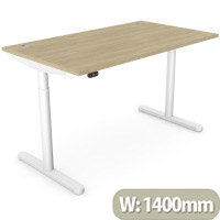 RoundE Height Adjustable Rectangular Home Office Sit Stand Desk Portal Top W1400xD700xH650-1150mm Urban Oak Top White Frame
