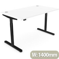 RoundE Height Adjustable Rectangular Home Office Sit Stand Desk Portal Top W1400xD700xH650-1150mm White Top Black Frame