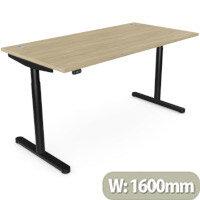 RoundE Height Adjustable Rectangular Home Office Sit Stand Desk Portal Top W1600xD700xH650-1150mm Urban Oak Top Black Frame