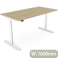 RoundE Height Adjustable Rectangular Home Office Sit Stand Desk Portal Top W1600xD700xH650-1150mm Urban Oak Top White Frame