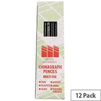 Royal Sovereign Chinagraph Marking Pencil Black 12 Pack RS525653