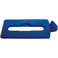 Rubbermaid Slim Jim Recycling Station Stream Topper Blue Paper Slot Lid