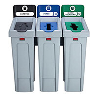 Rubbermaid Slim Jim Recycling Station Bundle 3 Stream Landfill (Black) & Paper (Blue) & Mixed Recycling (Green)