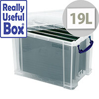 Really Useful 19 Litre Suspension File Box A4 Clear 19C