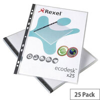 Rexel Recycled Punched Pockets A4 120 Micron Pack 25