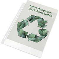 Rexel Pocket Recycled PP 70 micron A4 White Pack of 100 2115702