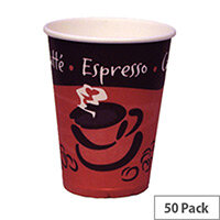 Caterpack Disposable Single Wall Hot Drinks Paper Cups 12oz/350ml [Pack of 50] RY01157