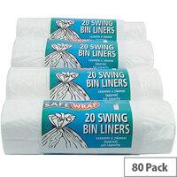 Safewrap Standard White 50L Swing Bin Liners 20 per Roll (4 Rolls)