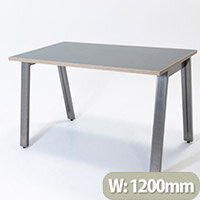 Switch A Leg Office Desk Graphite Desktop with Ply Edging & Raw Steel A Frame W1200xD700mm