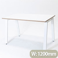 Switch A Leg Office Desk White Desktop with Ply Edging White A Frame W1200xD700mm