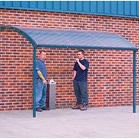 Large Wall Mounted Smoking & Bike Shelter Blue Steel Frame