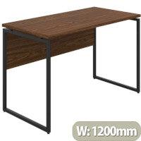 Soho Milton Home Office Desk W1200mm Walnut Desktop & Black Metal Frame