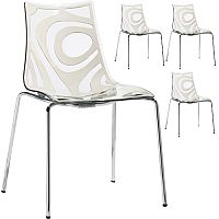 Wave Chrome Leg Canteen & Breakout Stacking Chair Translucent & Linen White Set of 4