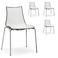 Zebra Bicolore Chrome Leg High Gloss Stacking Canteen Chair White/Anthracite Set Of 4
